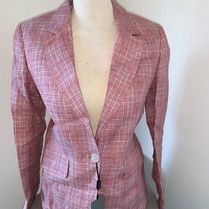 Massimo Dutti Red Plaid Linen Blazer Jacket